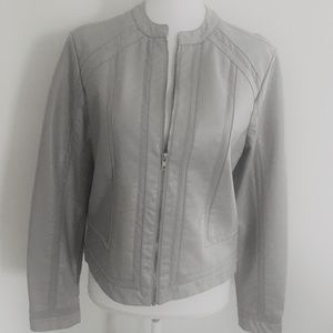 BACCINI Gray Faux Leather Moto Jacket M